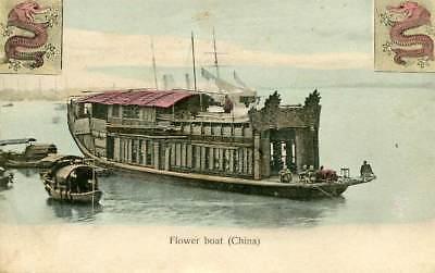 Flower boat postcard